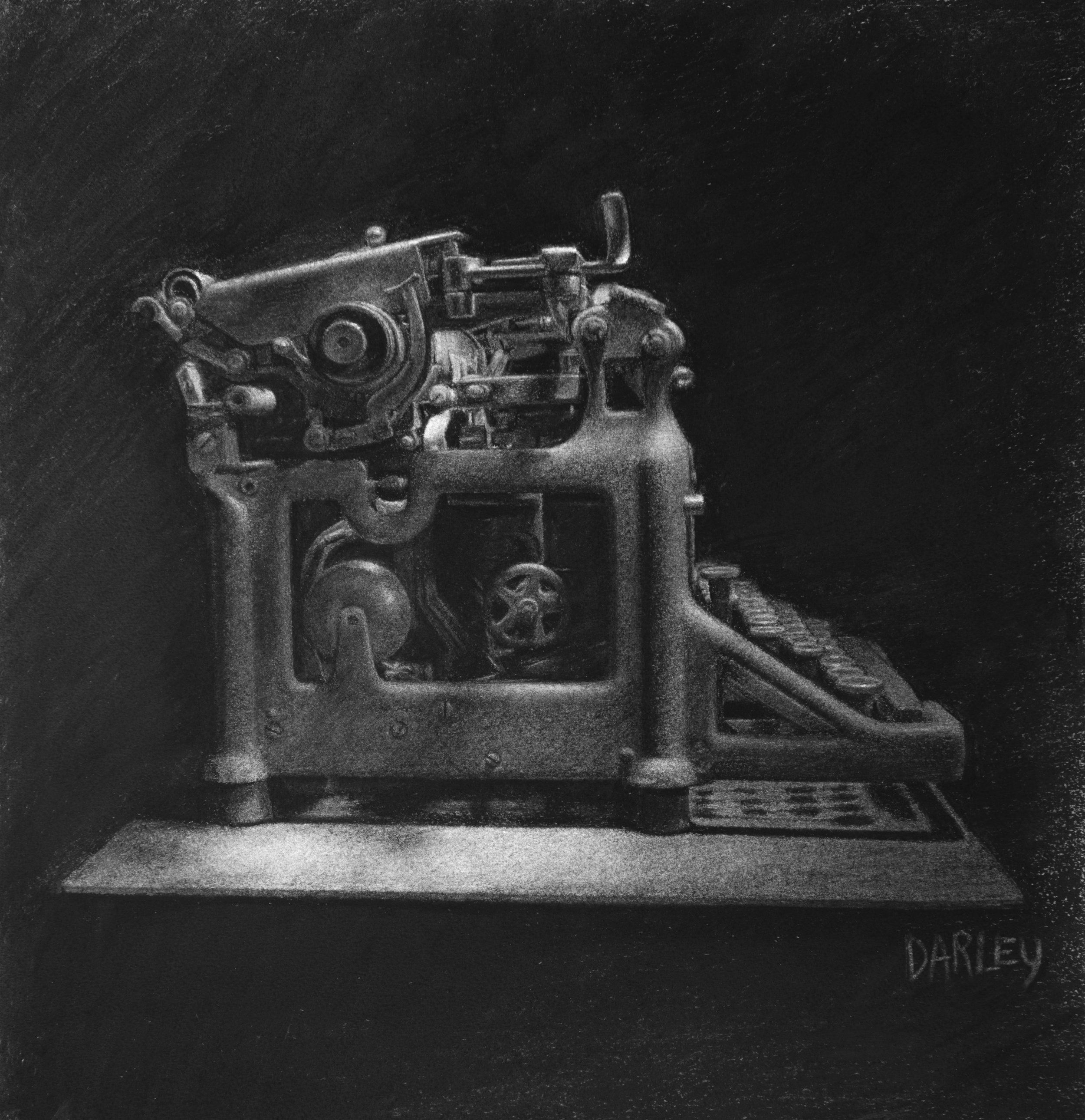 'Typewriter'  12''x12''  Charcoal on paper  2014