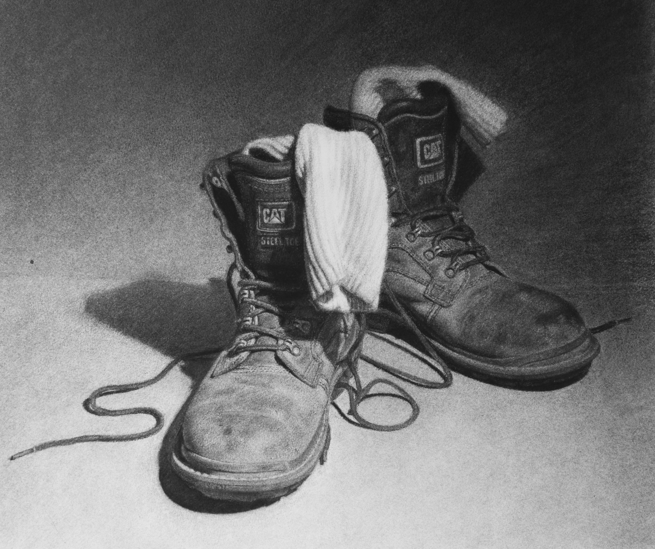 'Boots'  12''x12''  Charcoal on paper  2014