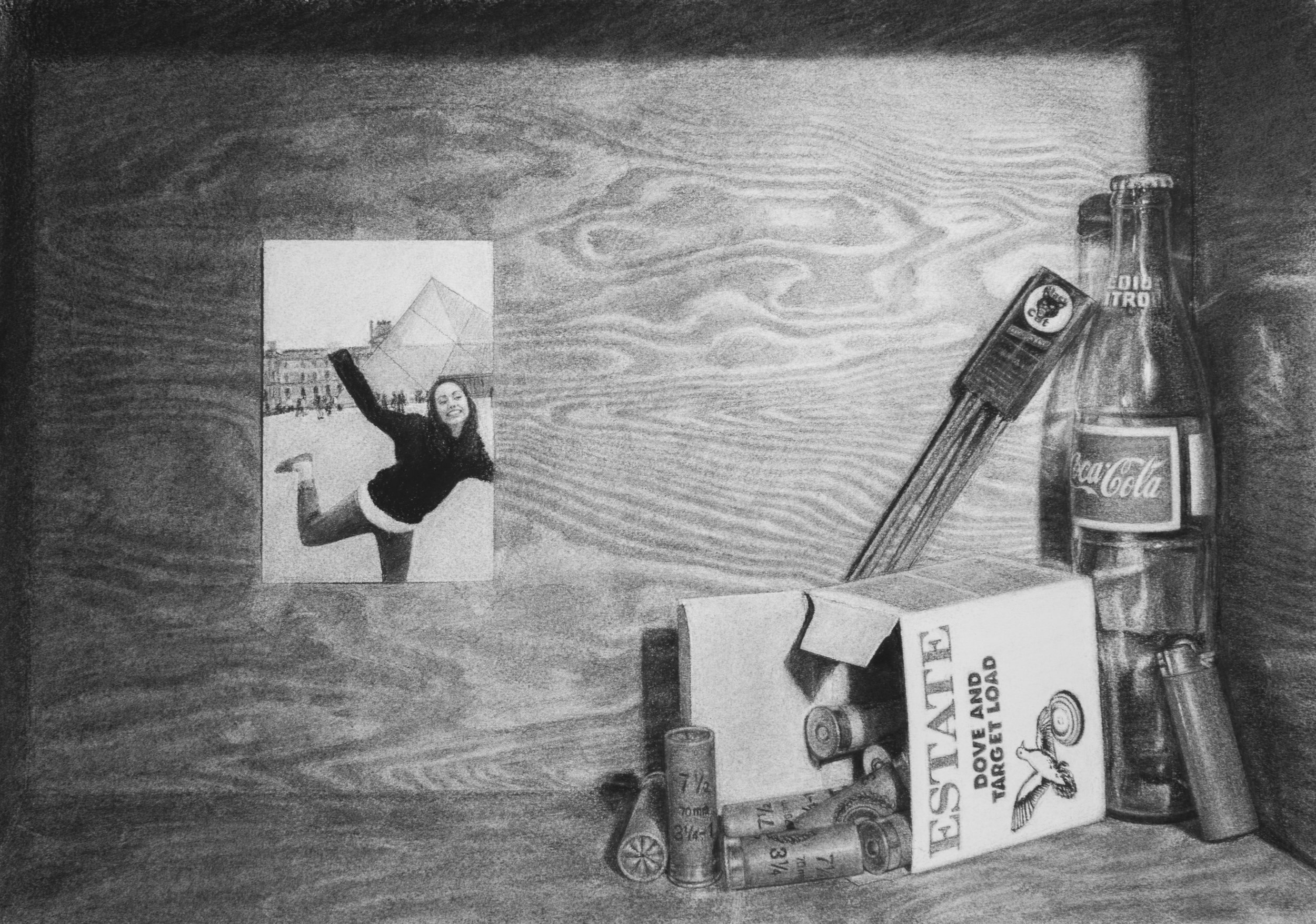 'Putting Away Childish Things'  12''x12''  Charcoal on paper  2014  Featured in the 2016 edition of Strokes of Genius
