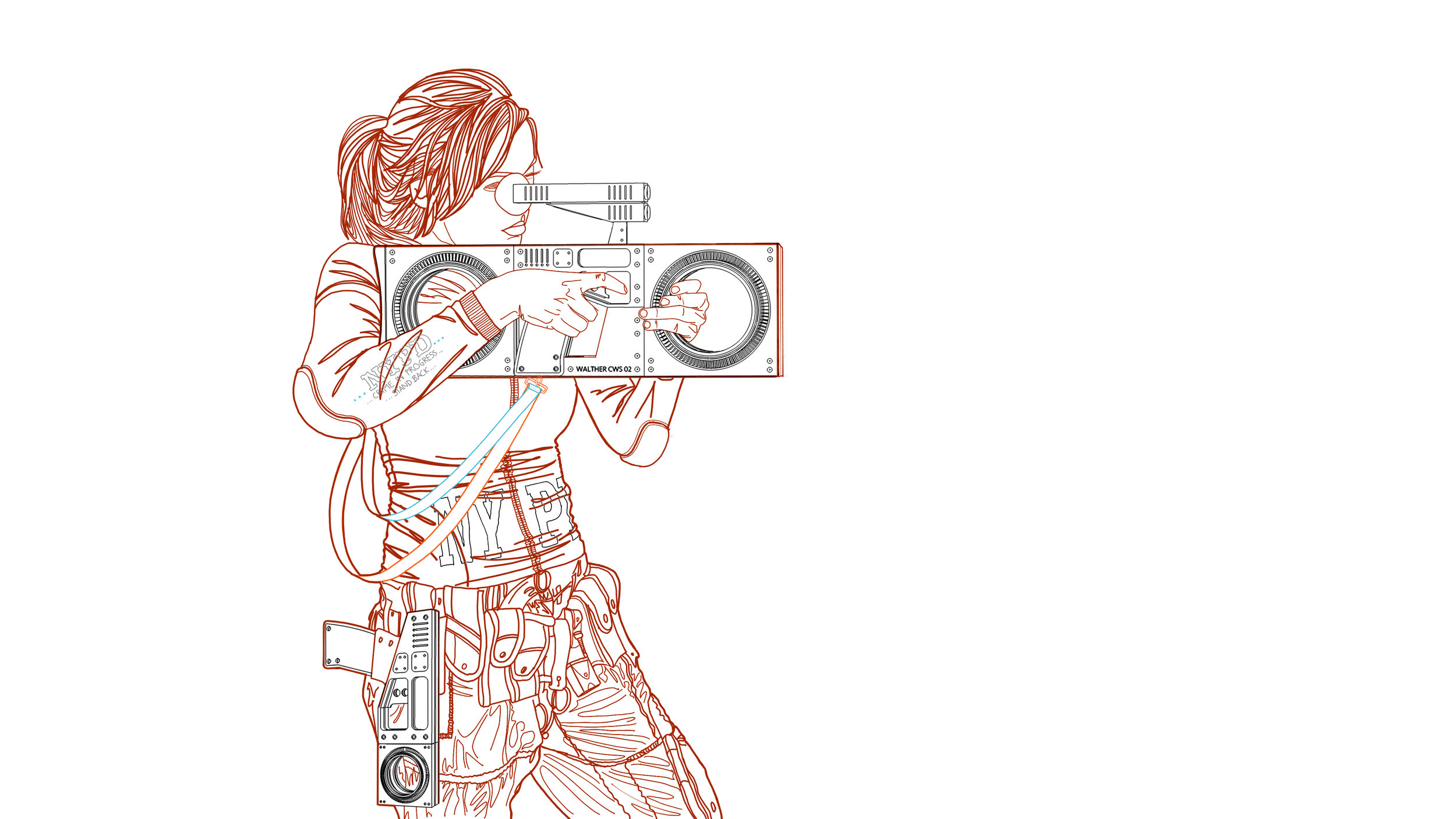 I set two cameras up in Rhino to match the view as best I could - it's always tricky when matching a render to a sketch.Here can see she is wearing the handgun while she is using the CWS Riot Gun ...