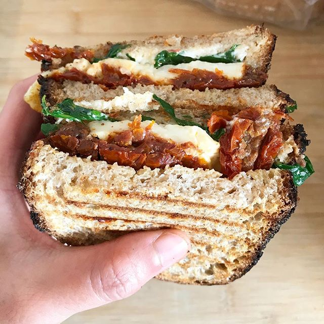 Did you know that Crushed Bean also do sandwiches to eat in or takeaway? You can even get it toasted like this halloumi and sun dried tomato one here...