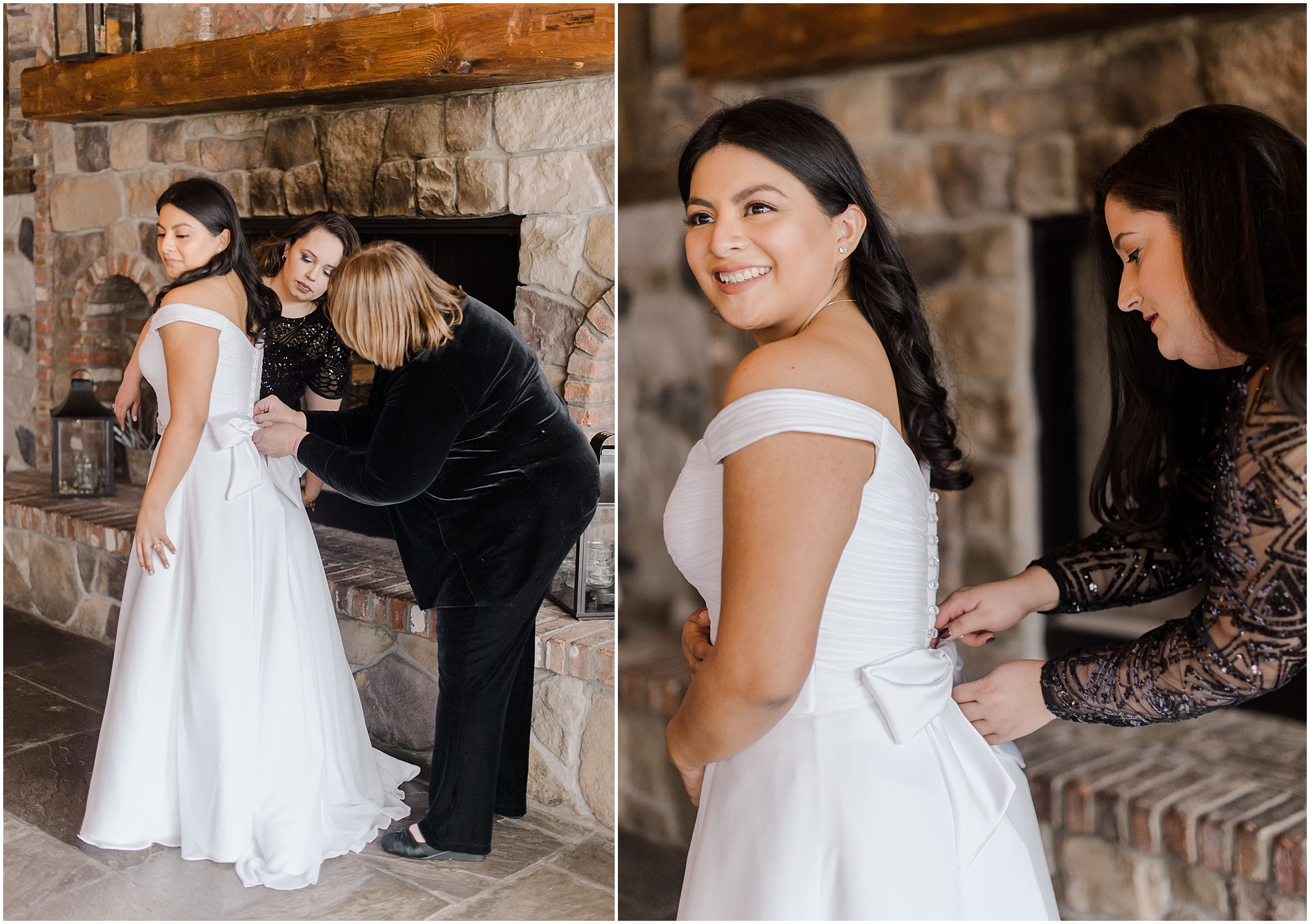 bride getting ready and having her Mom zip up the back of her dress at an intimate wedding ceremony at the mohawk house, NJ elopement