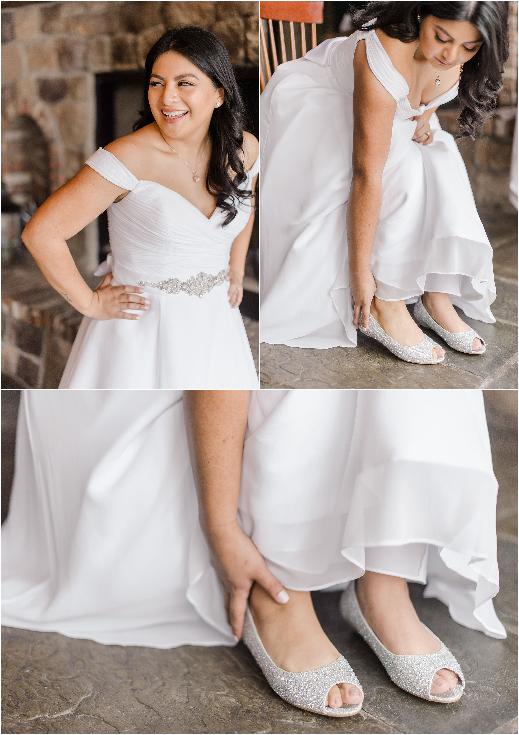 bride putting on the finishing touches of her wedding dress, and shoes for an intimate wedding, elopement