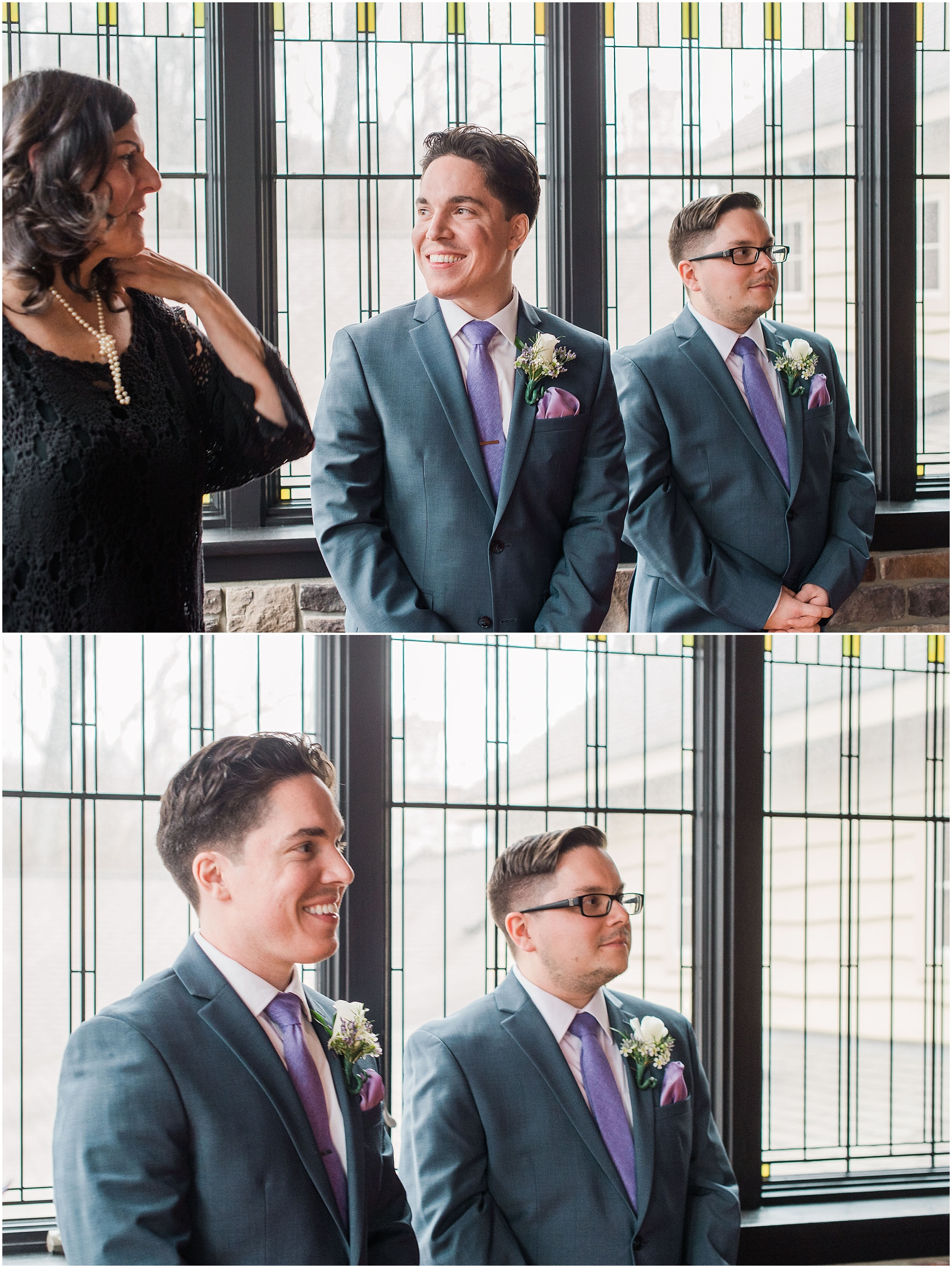 Groom getting ready to see his bride for the first time at their intimate wedding ceremony, elopement