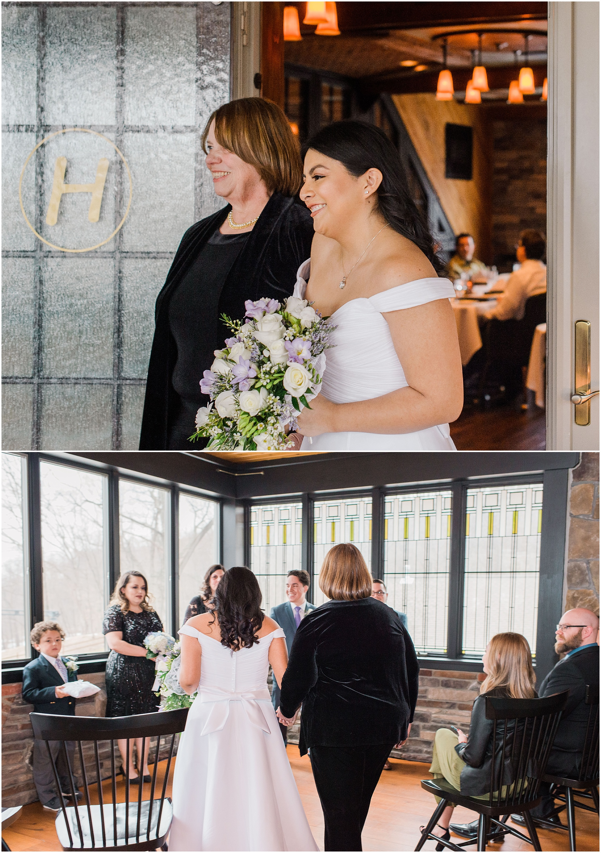 bride walking into wedding ceremony space with her Mom and seeing her groom for the first time for their intimate wedding ceremony, elopement