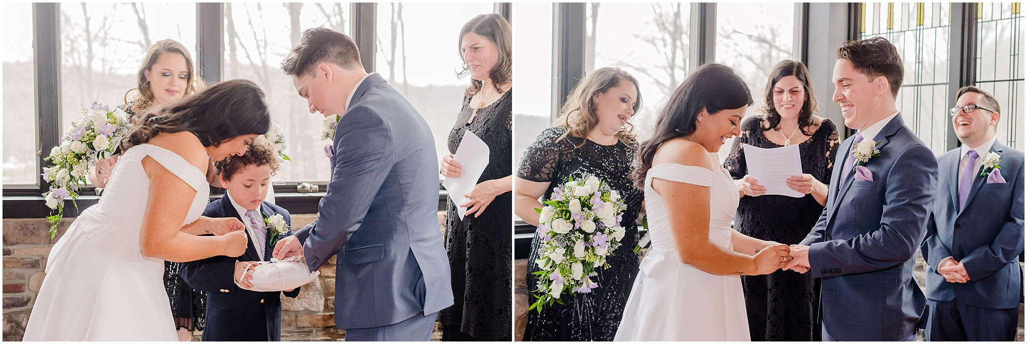 bride and groom get rings from ring bearer and exchange rings, NJ elopement