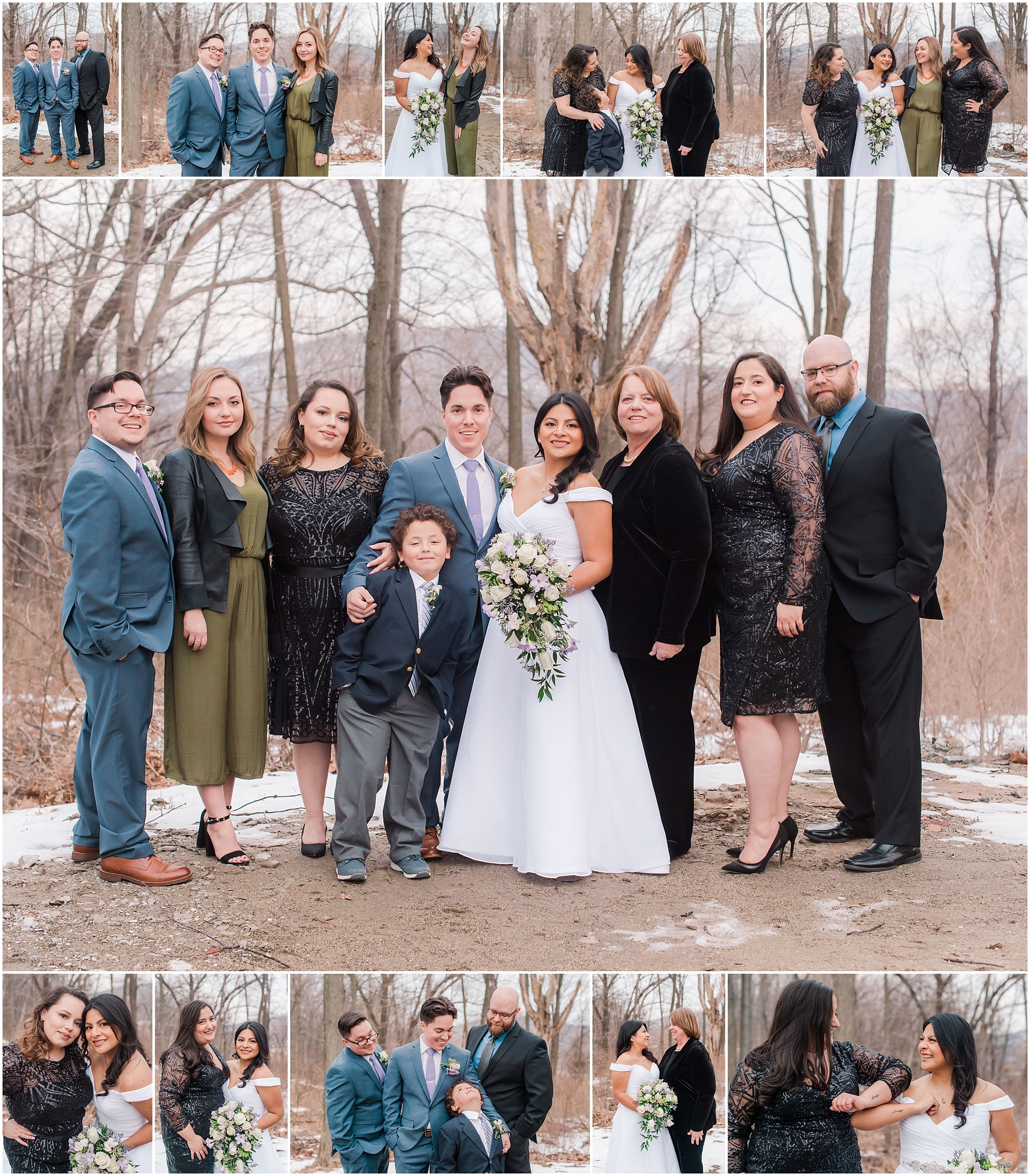 bride and groom family photos in the mountains on northern New Jersey, elopement