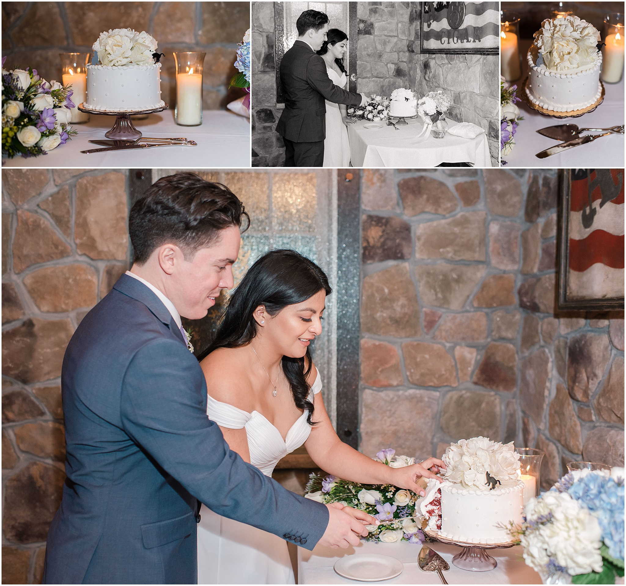 intimate wedding ceremony, husband and wife cut their cake, elopement