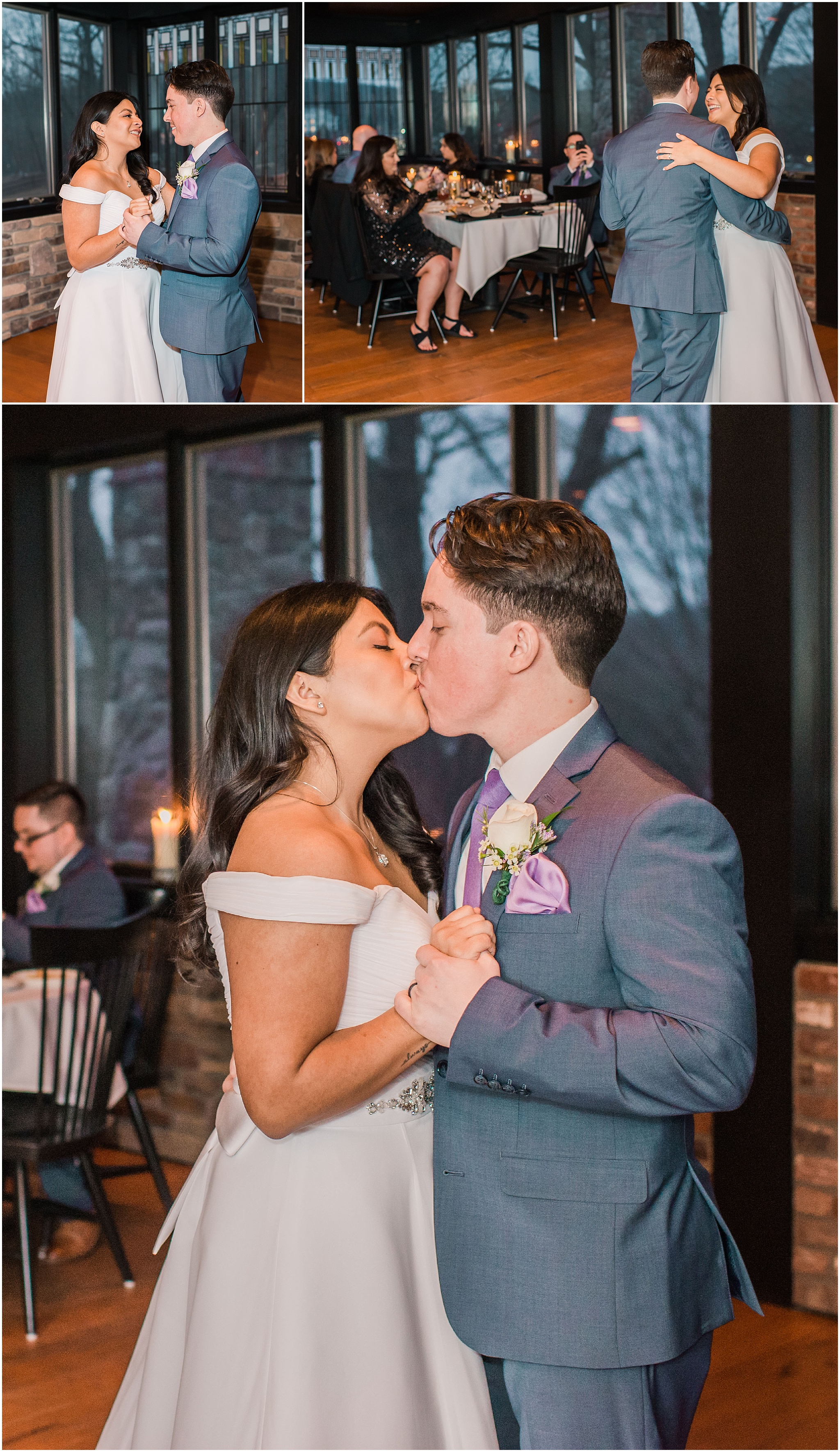 bride and groom sharing their first dance as husband and wife for their intimate wedding ceremony in the mountains of New Jersey, elopement