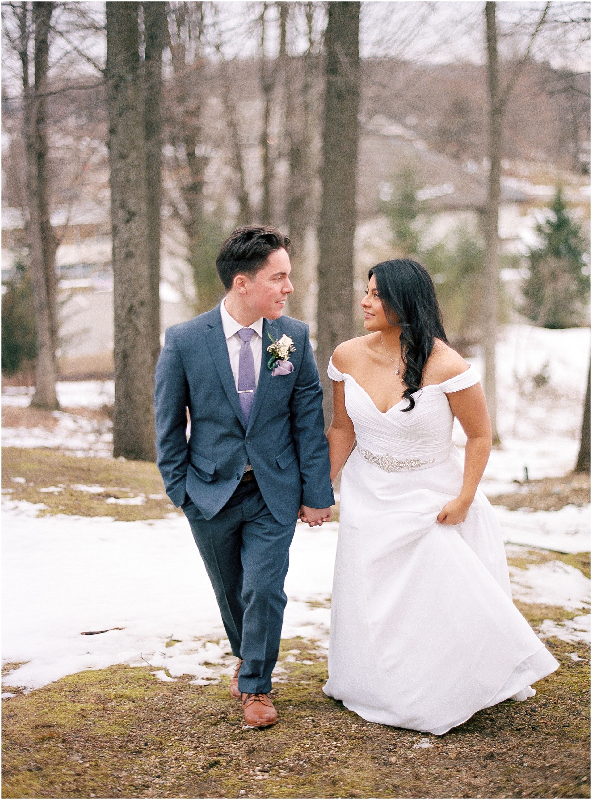bride and groom portraits for an intimate wedding in the mountains on northern New Jersey, walking in the woods, shot on photographic film, portra 400, contax camera, elopement