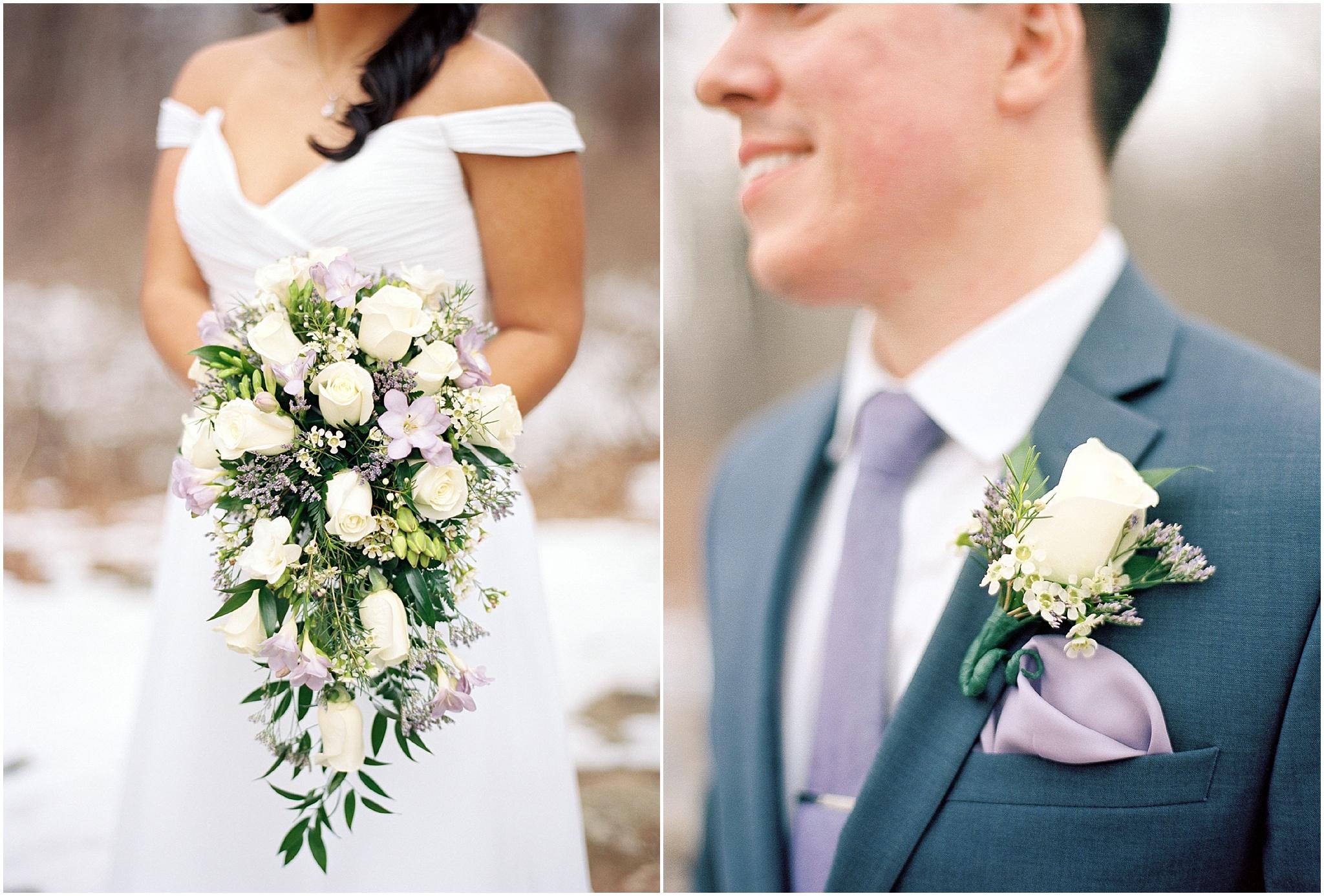 bride's bouquet and groom's boutonniere details, shot on photographic film, portra 400, fine art photography, elopement