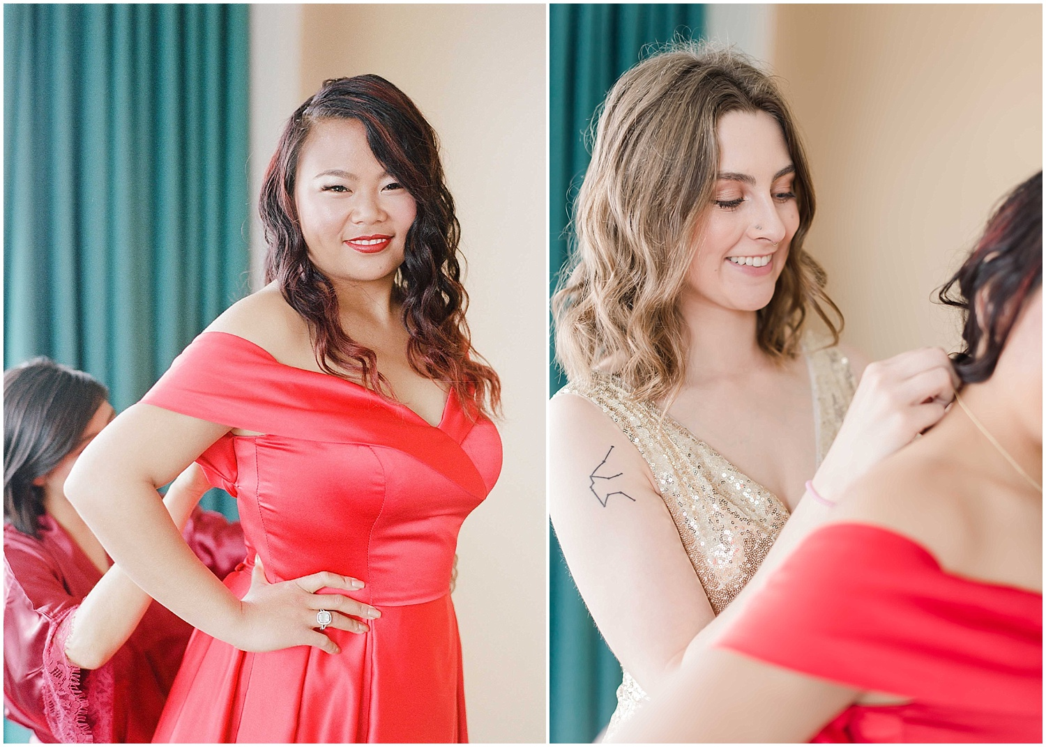 bride getting ready, wearing a red wedding dress in an bride and bridesmaids getting ready at an intimate wedding in hoboken new jersey at the W Hotel