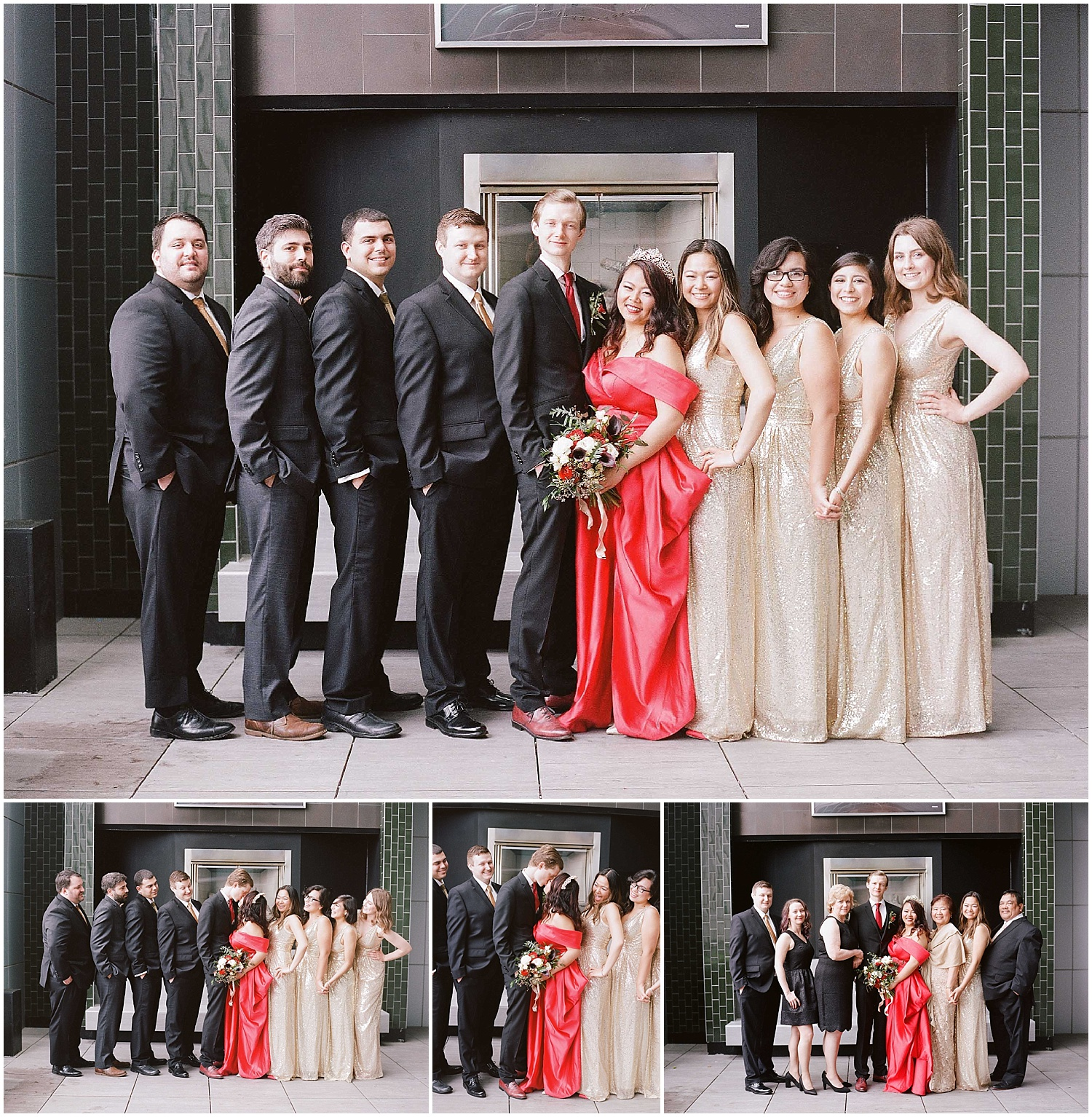 bridal party photos at an intimate wedding in hoboken new jersey at the W Hotel