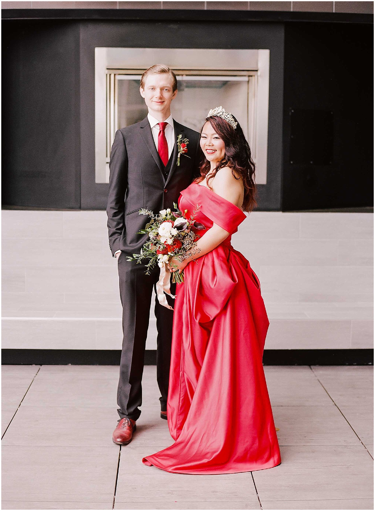 bride and groom portraits at their intimate wedding in hoboken new jersey at the W Hotel, creative wedding dress