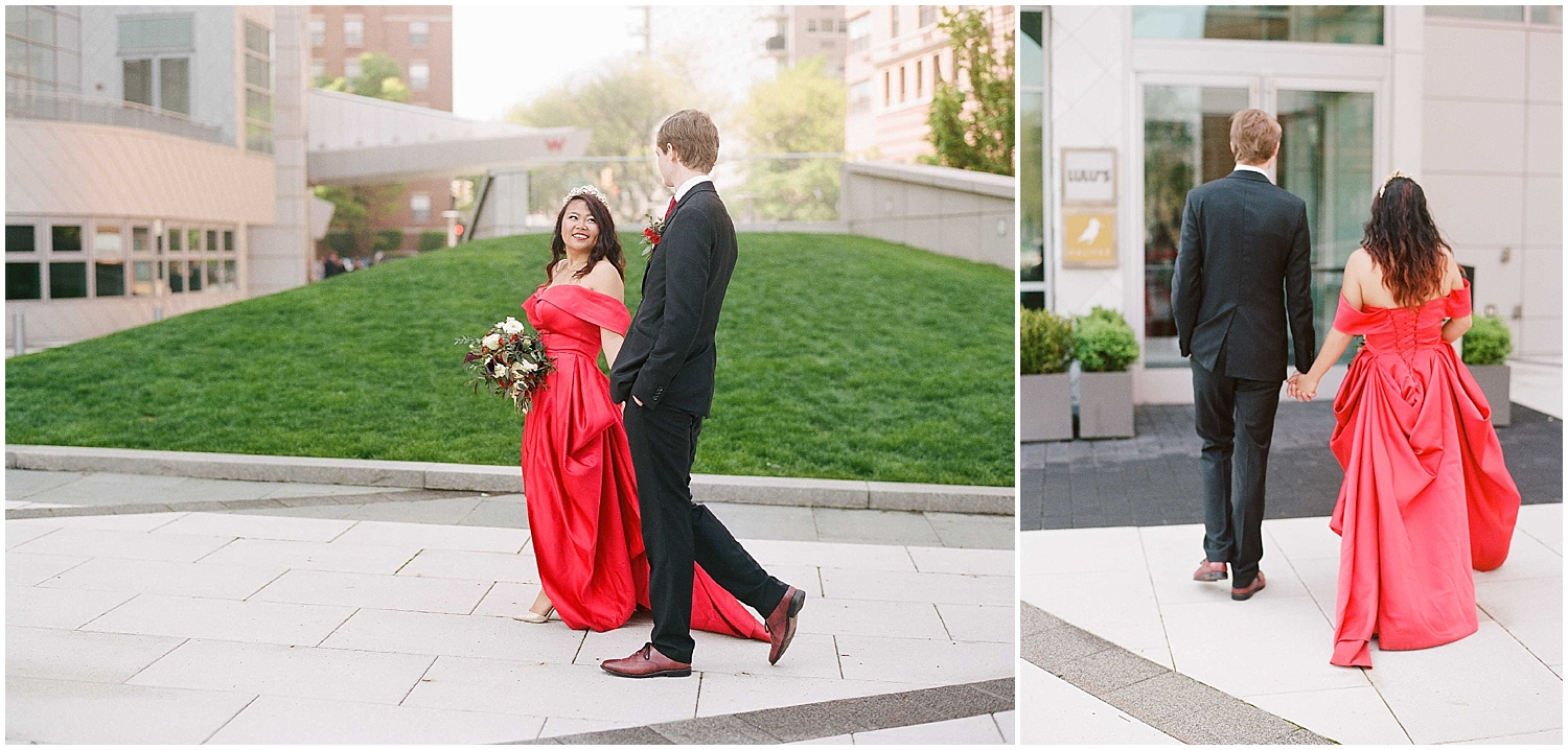 bride and groom portraits at their intimate wedding in hoboken new jersey at the W Hotel