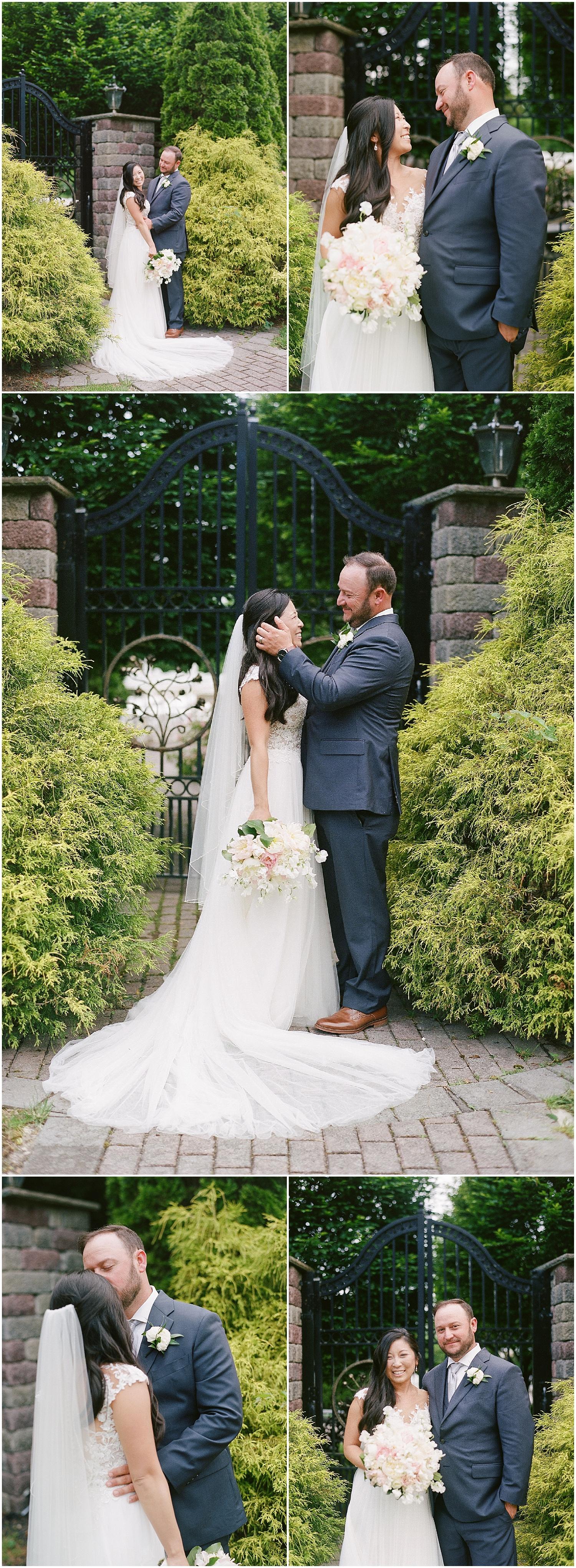 new jersey outdoor wedding, Monmouth University Wilson Hall, natural light photographer, film photographer, beautiful bride and groom portraits