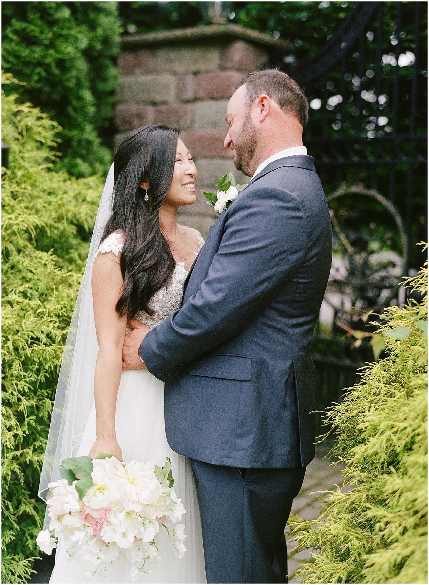 new jersey outdoor wedding, Monmouth University Wilson Hall, natural light photographer, film photographer, beautiful bride and groom portrait