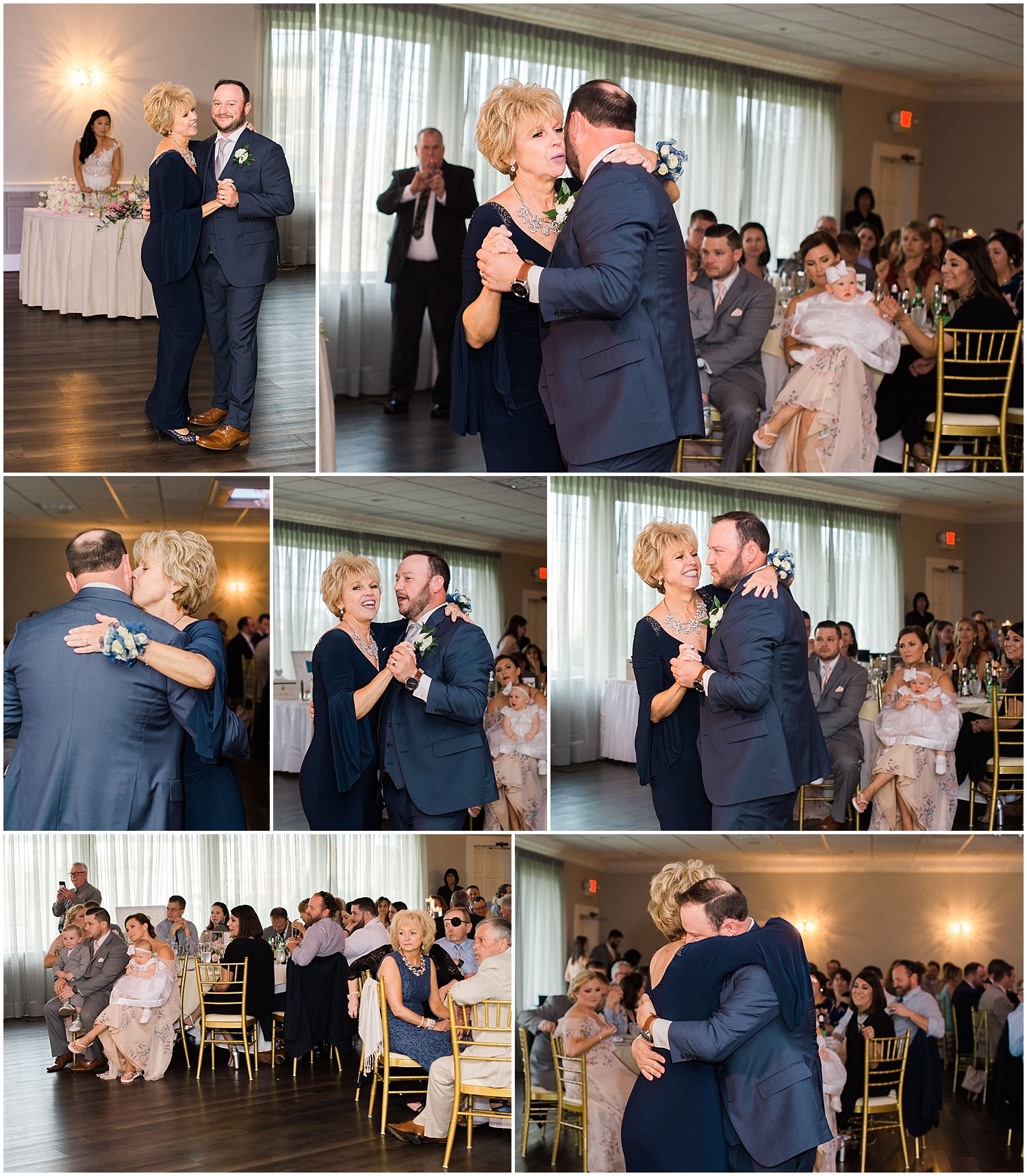 new jersey outdoor wedding, Monmouth University Wilson Hall, natural light photographer, hybrid photographer, groom and mother dance