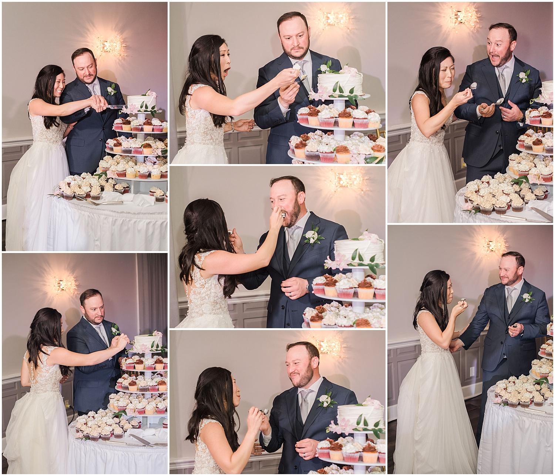 new jersey outdoor wedding, Monmouth University Wilson Hall, natural light photographer, hybrid photographer, cake cutting