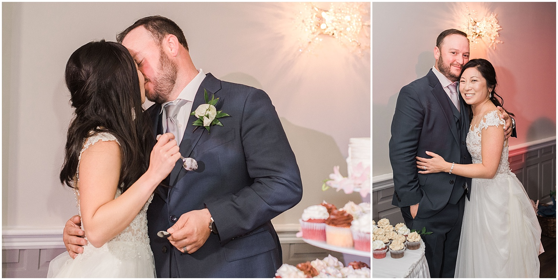 new jersey outdoor wedding, Monmouth University Wilson Hall, natural light photographer, hybrid photographer, bride and groom cut their wedding cake