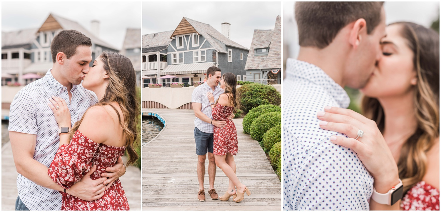 secret proposal, northern new jersey, newly engaged couple smiling and laughing, having fun on the boardwalk near the lake