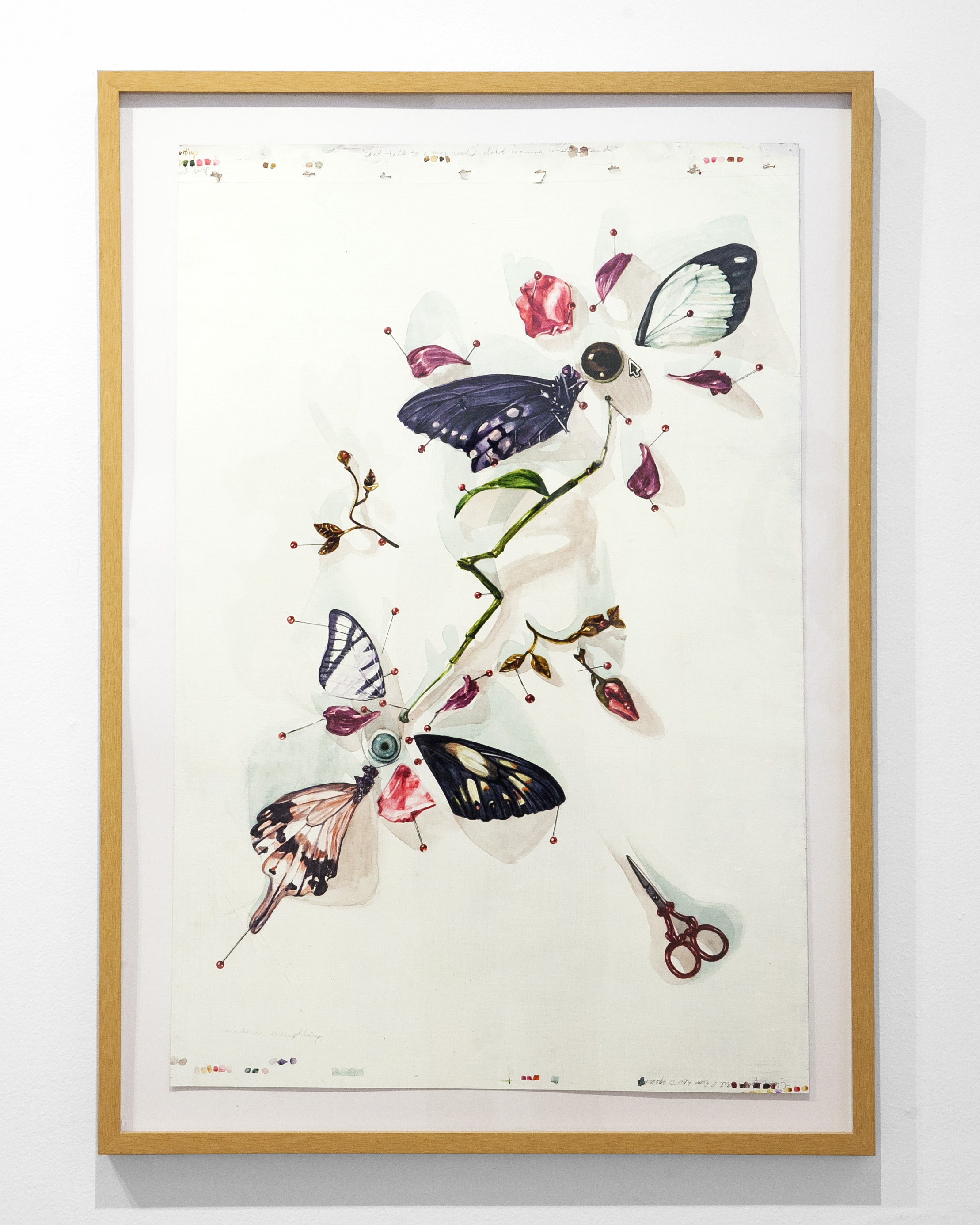 """Aubrey Learner -  """"Cuttings""""  Ink / Acrylic on Paper.   32 x 22 Inches. Framed. 2019."""