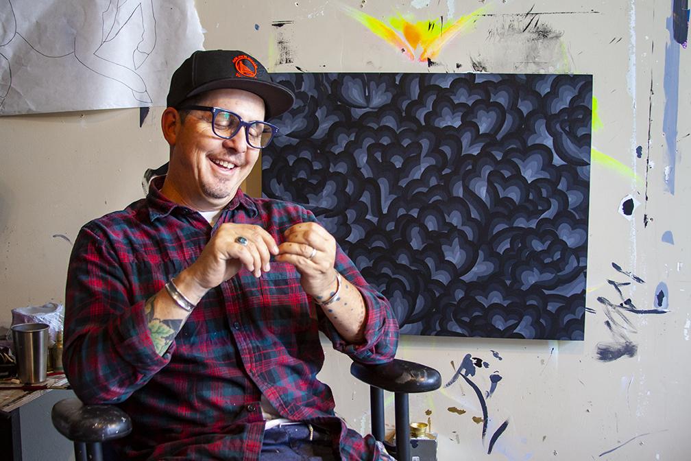 "Jet Martinez with work in progress for ""Des-Colores""."" Studio photos by  L. Herrada-Rios"