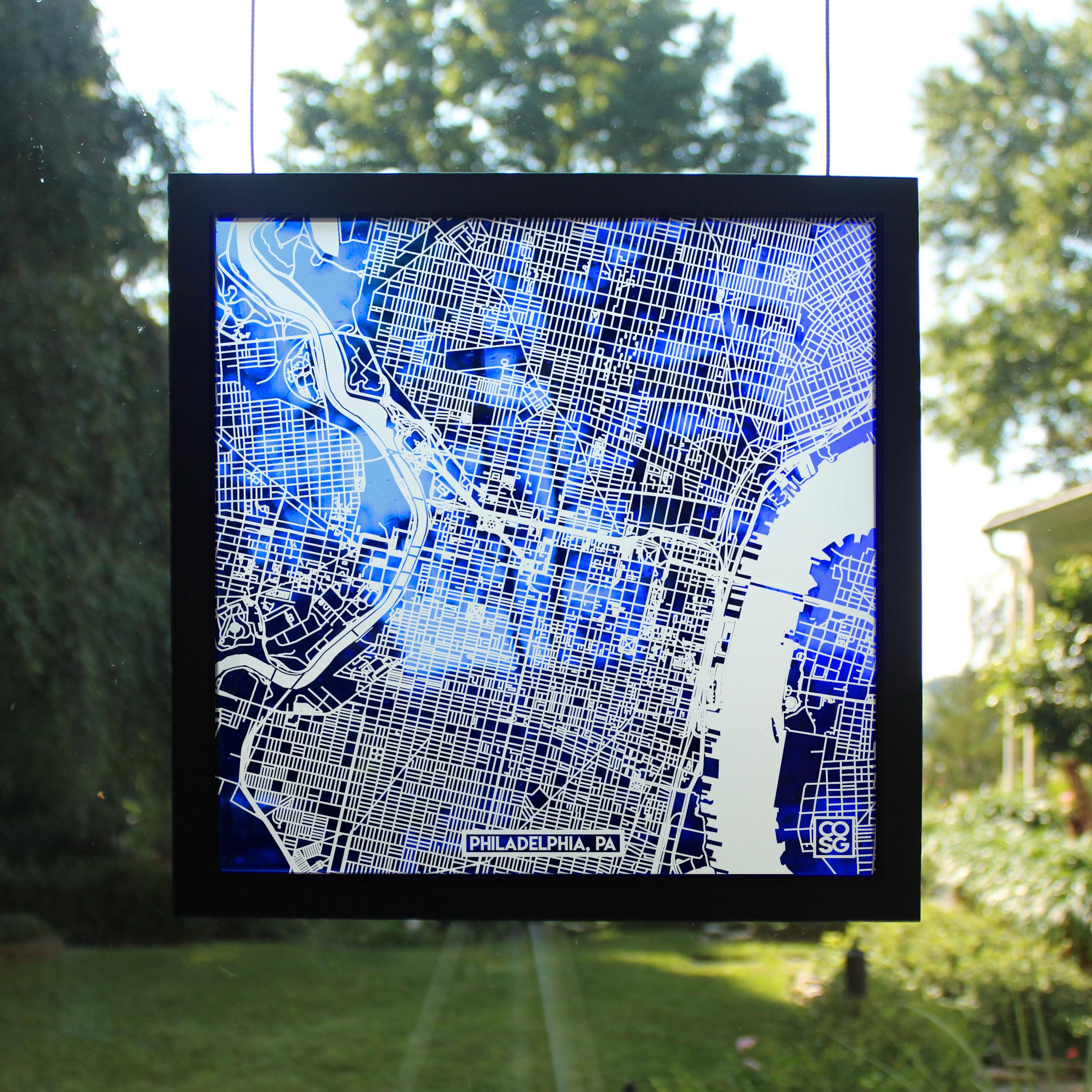 Custom Maps Carved into Stained Glass - The perfect personalized Wedding Gift