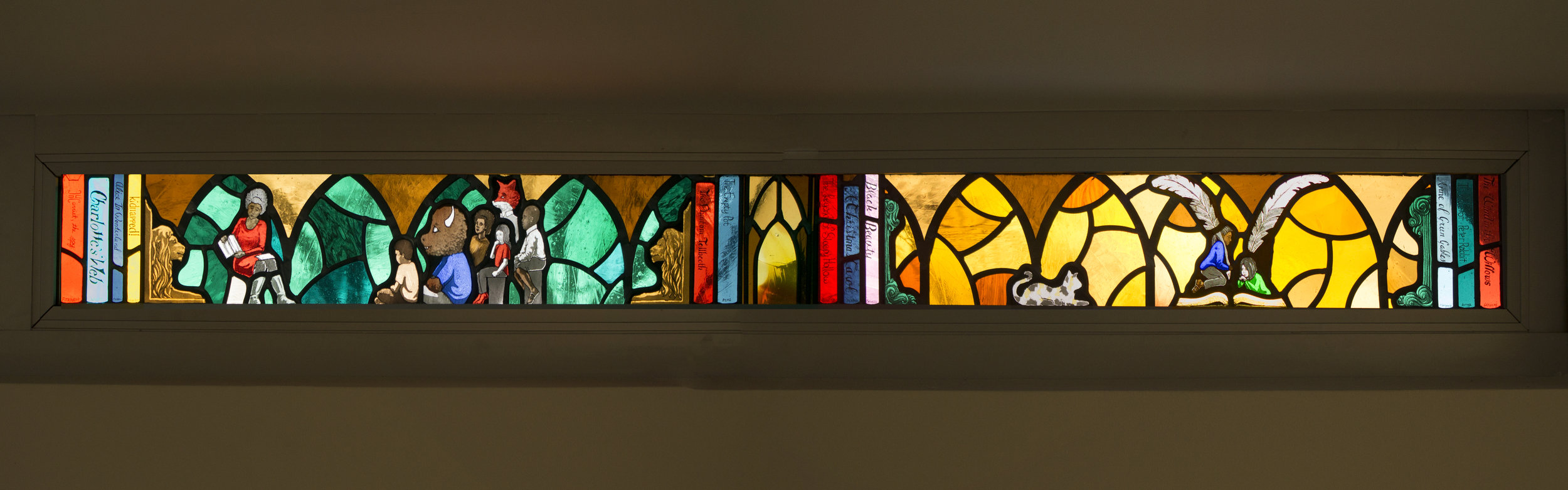 "Panel 1 of ""Explore"", a 17' long frieze of windows at Lovett Library in Mt Airy, Philadelphia, PA."