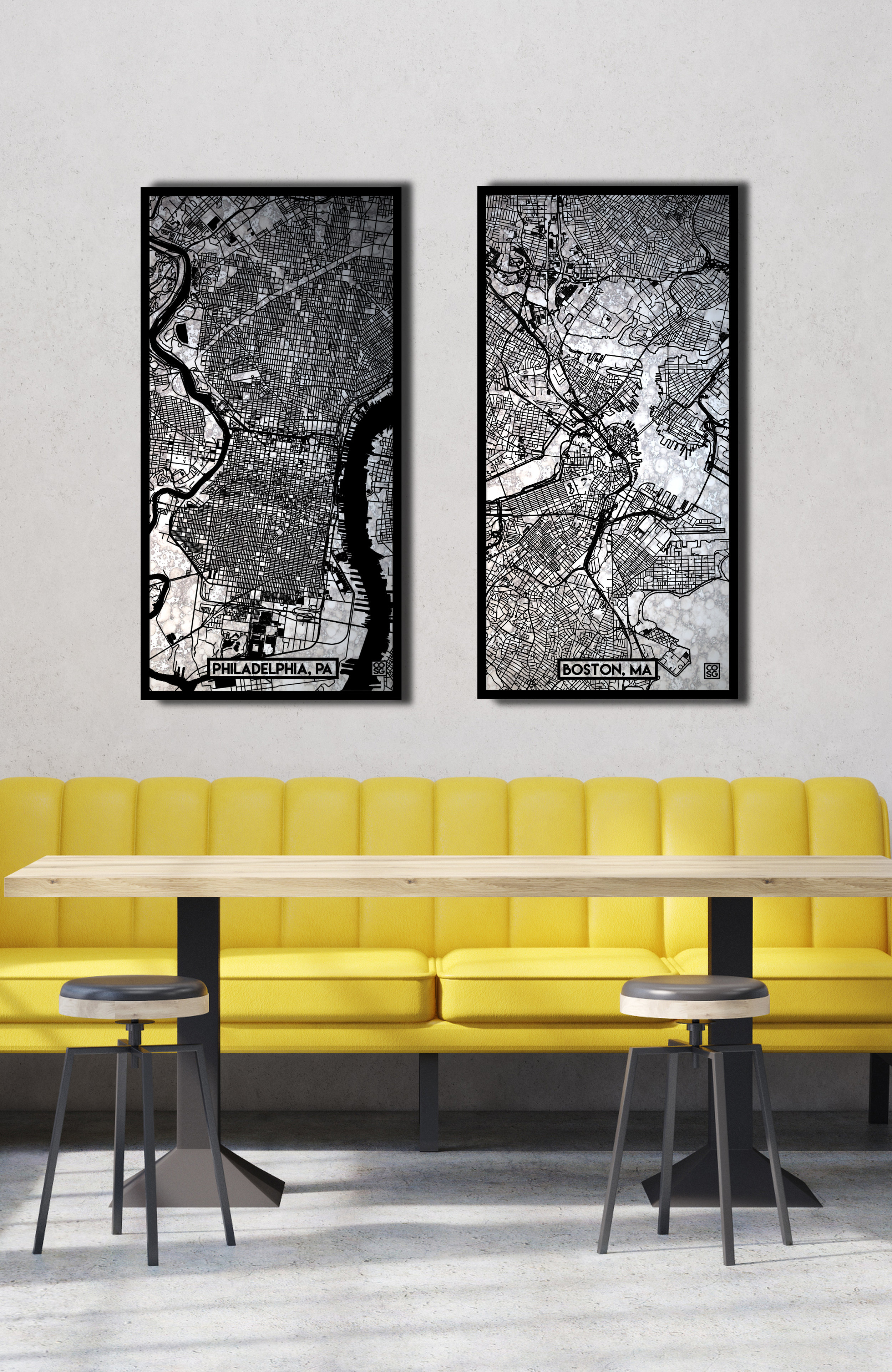 The Cartomir Series - Designer Maps Carved into Antique-Style Mirror