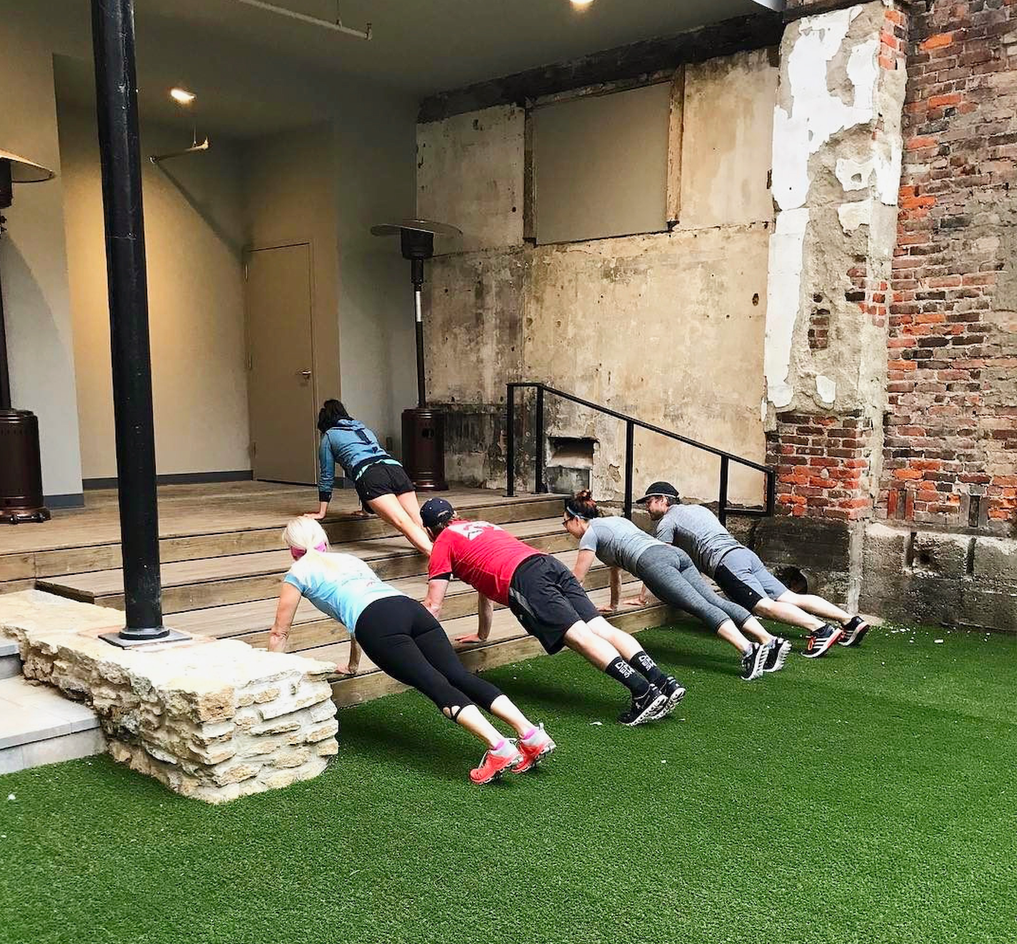 Our Saturday morning workout at  Hotel Covington .  Exercise:  incline planks