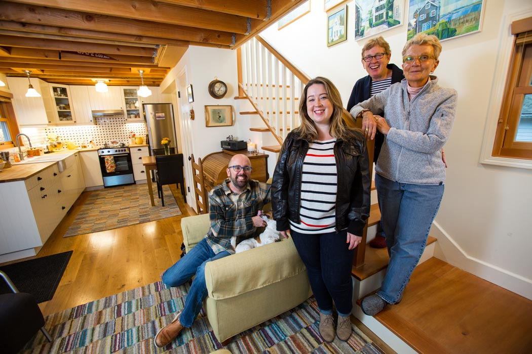 photo by Matt Hagen  Last November, the couple moved from a 1,300-square-foot home in West Seattle to a 613-square-foot cottage in the backyard of a house owned by their daughter Drew, 33, and son-in-law Jacob, 37, in the city's Ballard neighborhood. Their mini-house now stands where a dilapidated detached garage, formerly envisioned as a possible writing studio for Drew, once stood. Click to read more about their experience in  country living  article by Maria Carter.