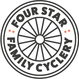 Four Star Family Cyclery makes it so easy for meto get my whole family out on bicycles and get to all the places we need to go, with all the stuff we need to bring along, in car-free happiness.