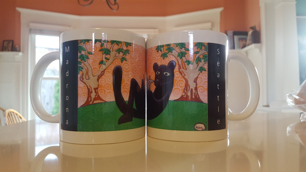 Madrona Mugs - Featuring our panther from the Henry Mural, sales of these mugs help fund Arts Programming at Madrona. On sale at the Hi-Spot (and at school events) for only $15!