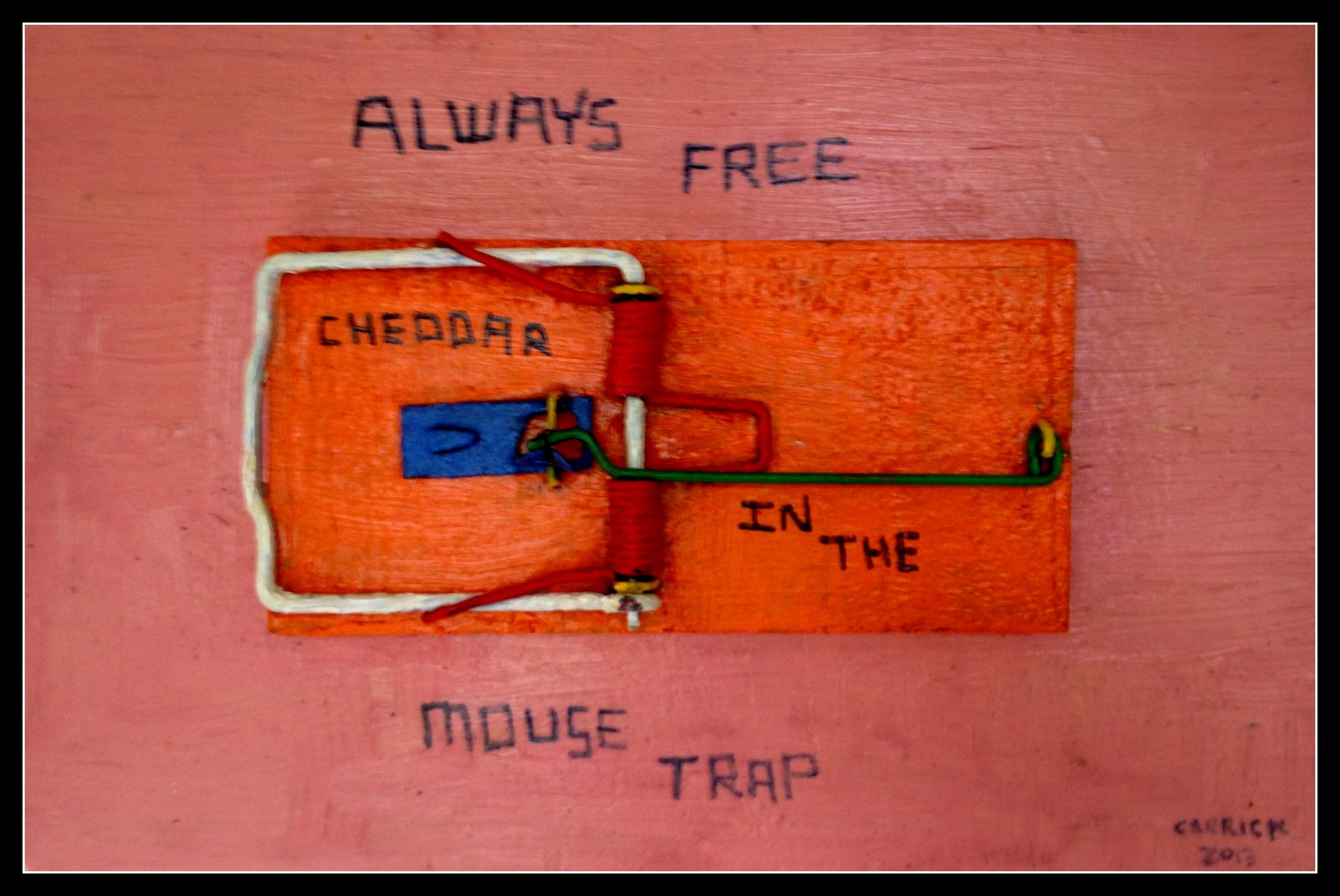 Always Free in the Mousetrap | BJ Carrick | Oil and Sculptural Assembly on Reclaimed Wood