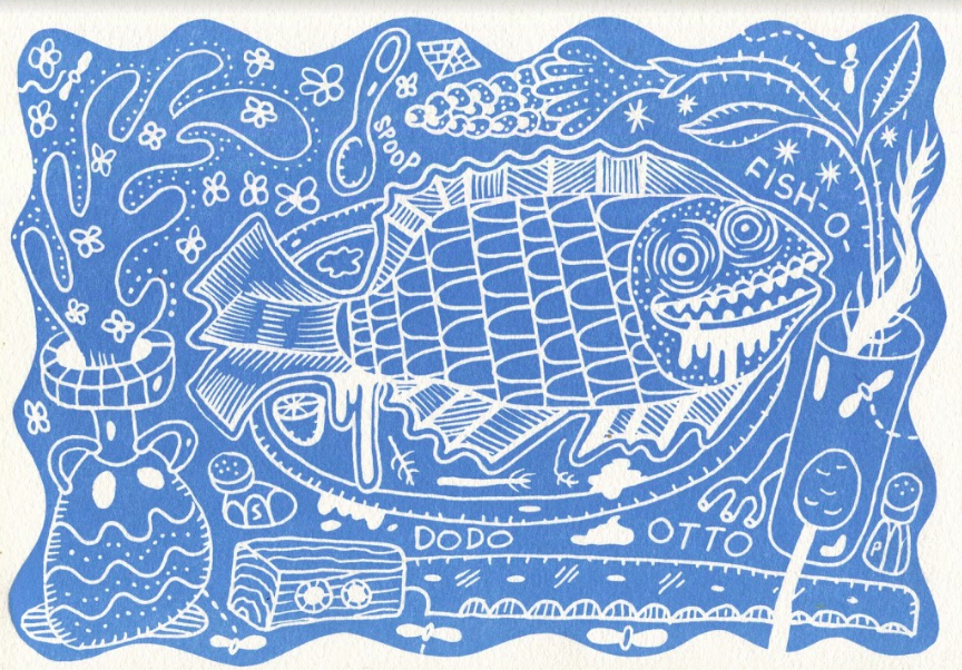BLUE FISH | WOODCUT PRINT | 7X10