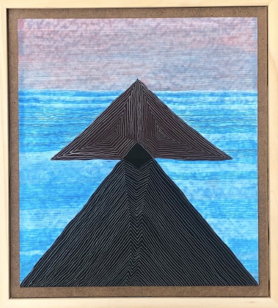 ISLANDS | FRAMED COLORED PENCIL, FLASHE, GRAPHITE | 14X13