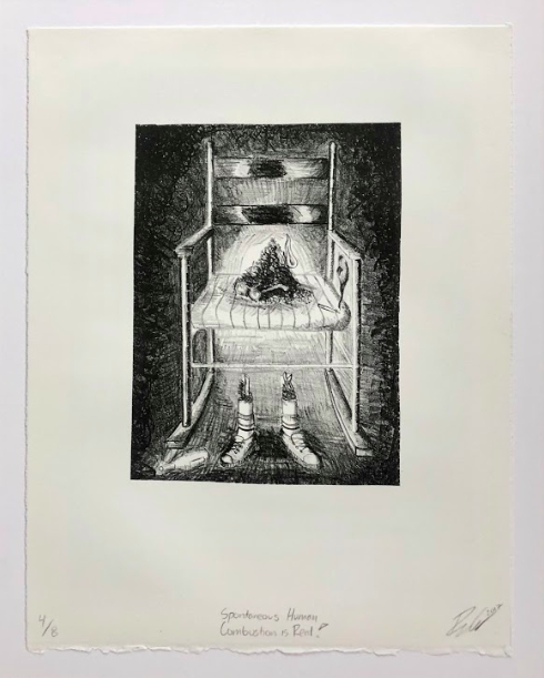 SPONTANEOUS COMBUSTION IS REAL! | FRAMED PENCIL ON PAPER | 16X20