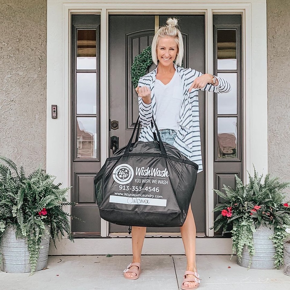 """It's official: laundry will no longer be the death of me! ☠️🙌🏻 I brought on a little help this week in the form of  @wishwash_laundry : KC's premiere laundry service. Rather than spending hours washing, drying and folding—I simply put our family's dirty clothes in this big ol' bag and dropped it on our front porch. It was back the next afternoon, clean, folded, and smelling amazing 😍😍😍 A mom's dream, am I right?!? I am so happy to ditch this job for several more hours a week with my family. ❤️""   -Vanessa Calcara    @ vanessacalcara"