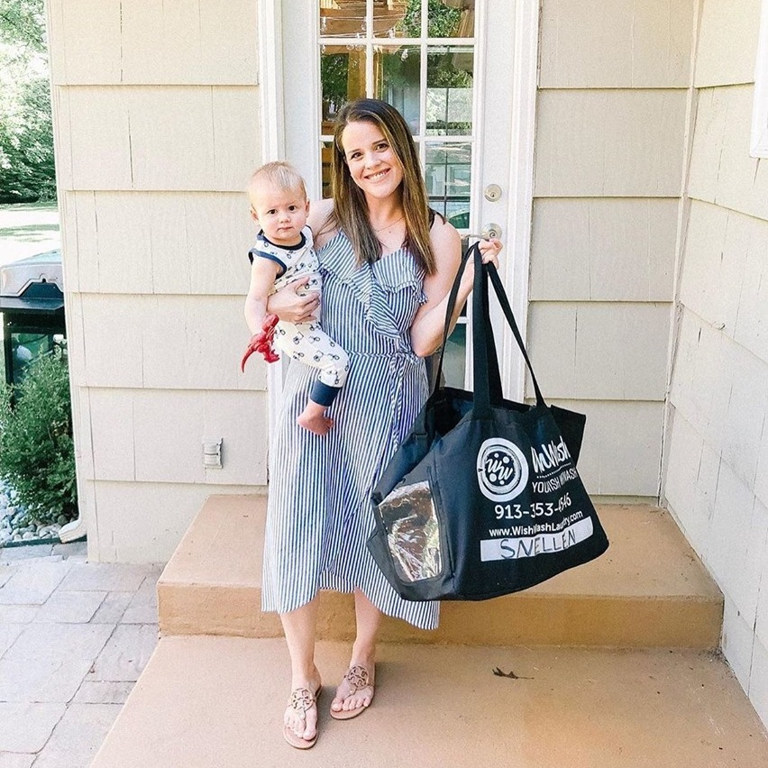 """As a mama and biz owner, it's hard to fit everything in a day. Most days are pure chaos, but I wouldn't change it for everything. One thing that has been a game changer for us is outsourcing our laundry. Yes, that's right you can have someone else do your laundry and even fold, press and hang it all for you! 🙌🏼""   -Kathryn Snellen   @thekathrynelise"