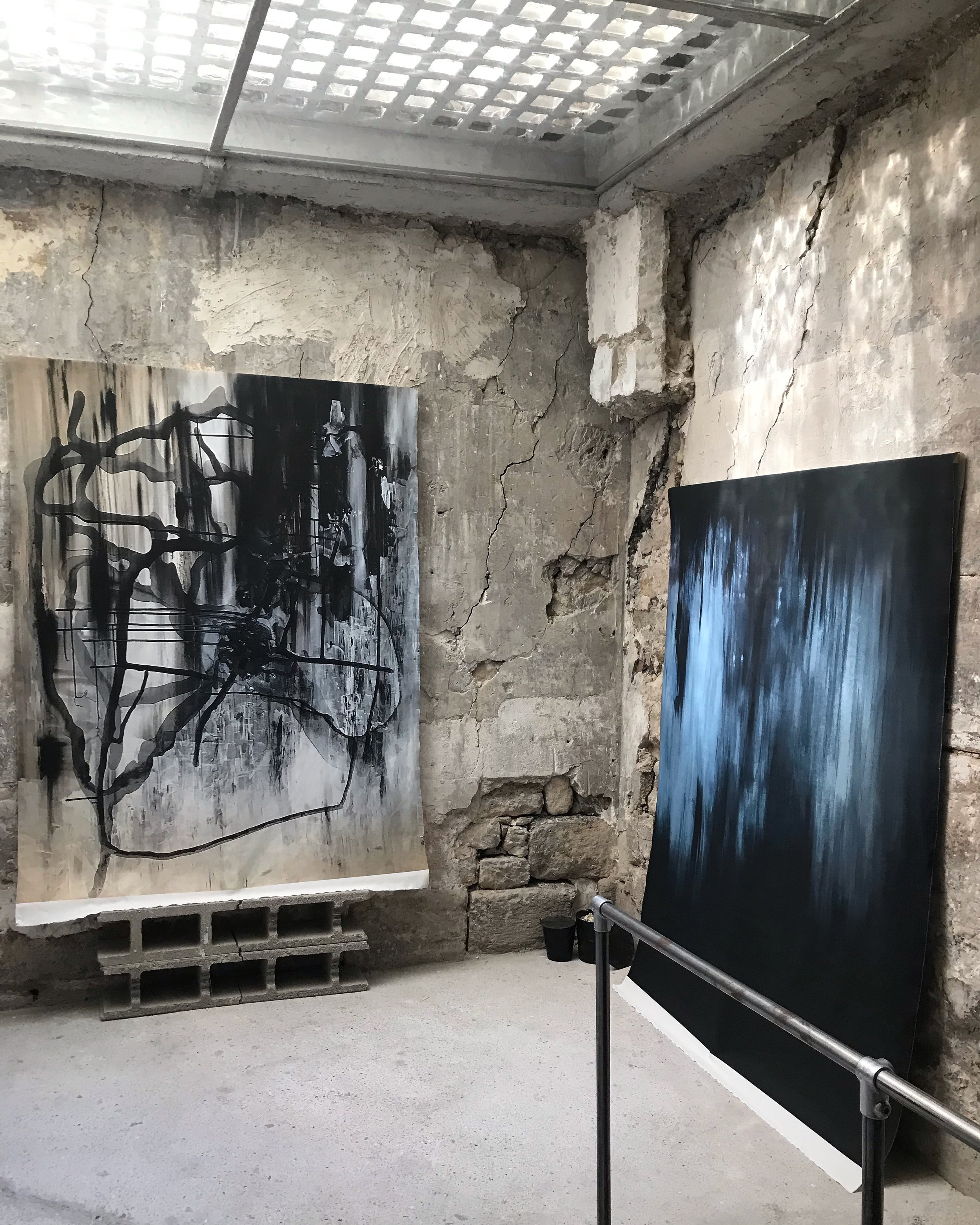Painting digitally printed on fabric  150 cm x 200 cm (each)  LUCID INTERVAL / 94 Rue Quincampoix, Paris, France
