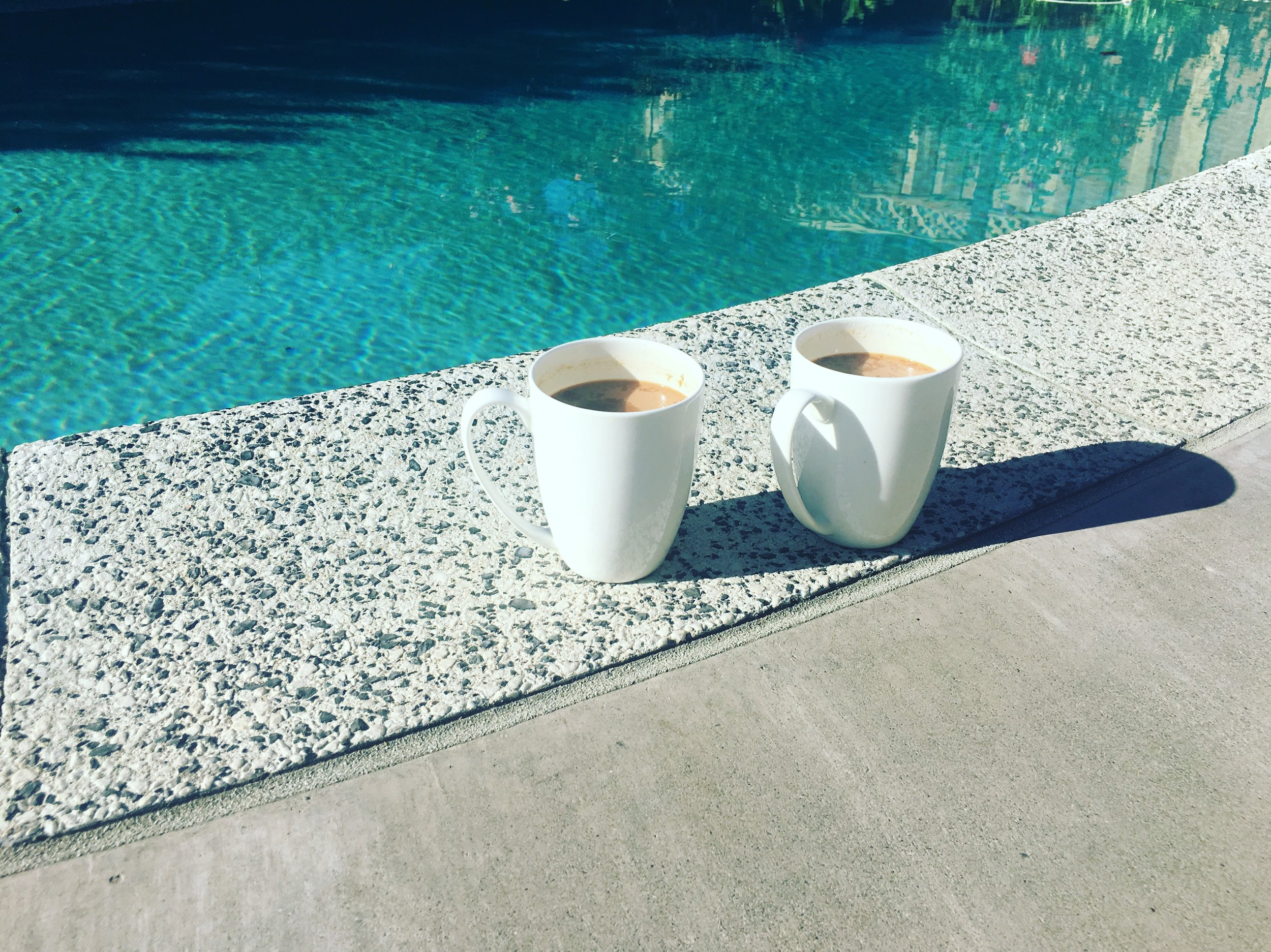 First Coffee by our pool