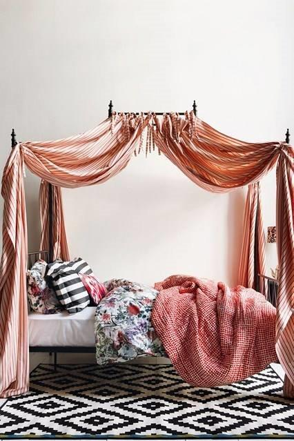 Bed - four poster with great ticking.jpg