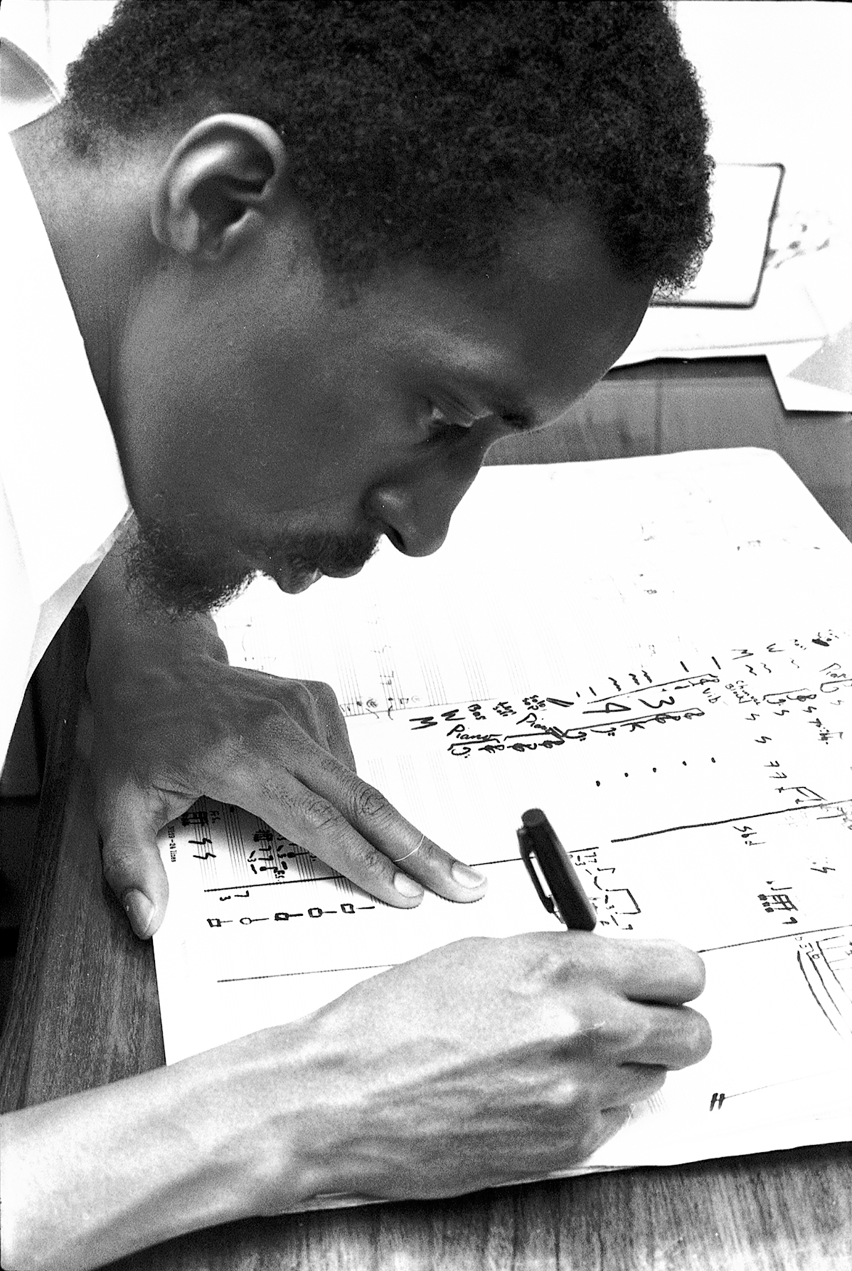 Julius Eastman composing c. 1969.  Photo by Donald W. Burkhardt.