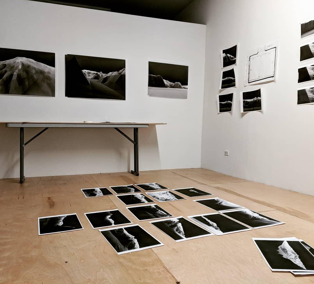 Caitlin Berrigan's studio work in progress on  Treatise on Imaginary Explosions , January 2018, Plexus Projects, Brooklyn, NY