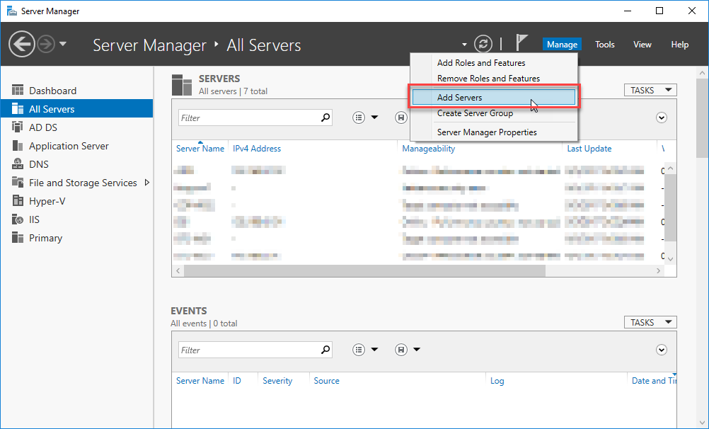 Add Servers Option in Server Manager