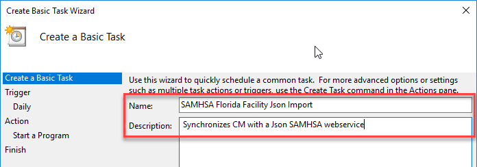 Task Scheduling Wizard - Name and Description
