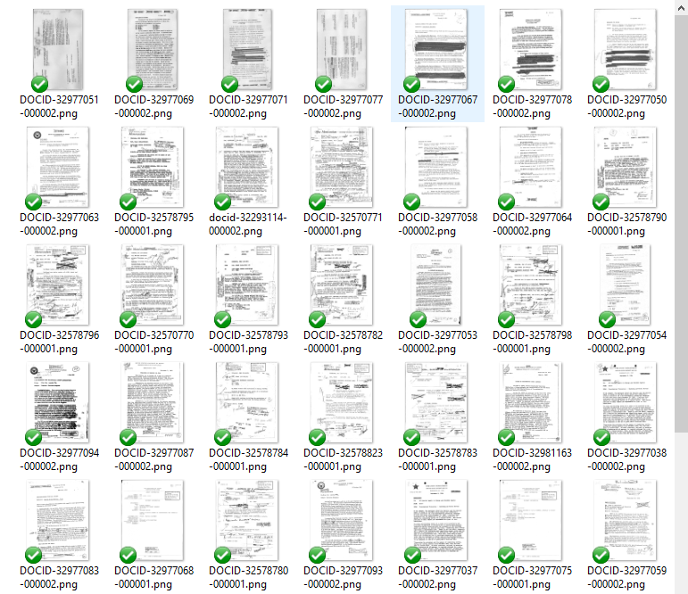 Thumbnails selected based on extracted image size (cover sheets are mostly white space and therefore smaller in size)
