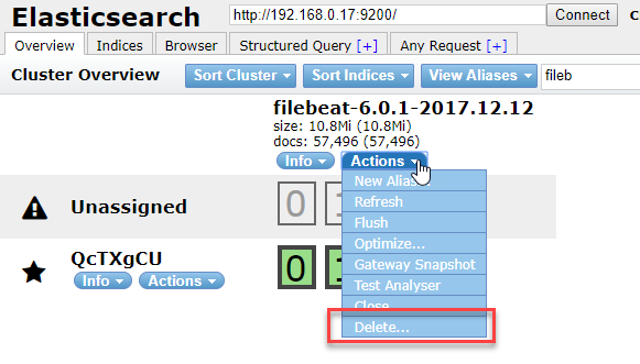 Delete action in the Elasticsearch Head