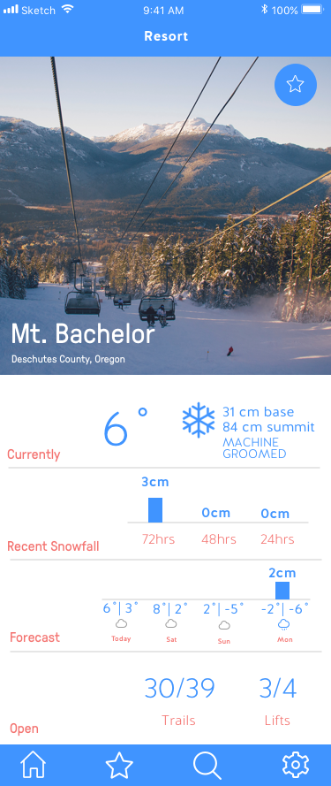 Resort page where you will get better idea of the conditions by seeing the current